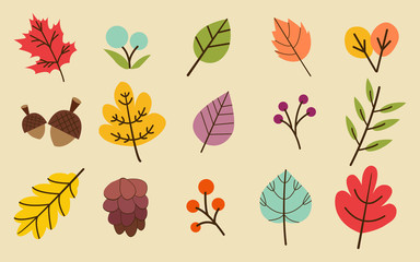 The collection of atumn or fall leaves in the yellow background set. pattern of leaf. the atumn leaves set. maple leaf. set of atumn leaf. The leaves in the cute flat vector style. Wall mural