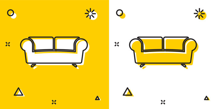 Black Sofa icon isolated on yellow and white background. Random dynamic shapes. Vector Illustration