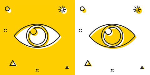 Black Eye icon isolated on yellow and white background. Random dynamic shapes. Vector Illustration