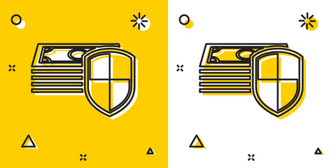 Black Money protection icon isolated on yellow and white background. Financial security, bank account protection, fraud prevention, secure money transaction. Random dynamic shapes. Vector Illustration
