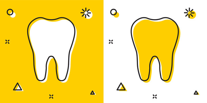 Black Tooth icon isolated on yellow and white background. Tooth symbol for dentistry clinic or dentist medical center and toothpaste package. Random dynamic shapes. Vector Illustration