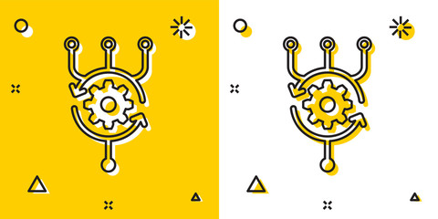 Black Algorithm icon isolated on yellow and white background. Algorithm symbol design from Artificial Intelligence collection. Random dynamic shapes. Vector Illustration
