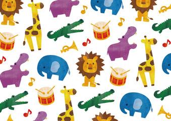 カラフルな水彩の動物と楽器の柄