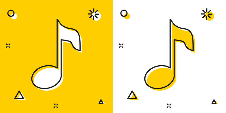 Black Music note, tone icon isolated on yellow and white background. Random dynamic shapes. Vector Illustration