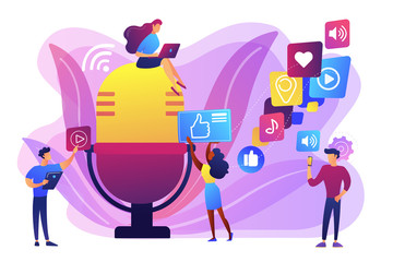 Radio advertising. Broadcasting station. Mass media marketing. Podcast content, marketing podcasts production, your content strategy concept. Bright vibrant violet vector isolated illustration