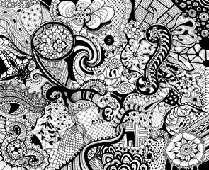 Hand drawn black and white abstract doodle sketch drawing