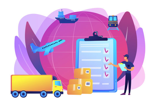 Orders worldwide shipment service agreement. Customs clearance, calculation of customs duties, professional customs clearance services concept. Bright vibrant violet vector isolated illustration