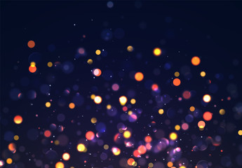 Christmas background with golden lights bokeh. Night bright gold sparkles backdrop.