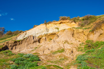 Eroding cliffs of Olivers Hill in Frankston, Victoria, Australia