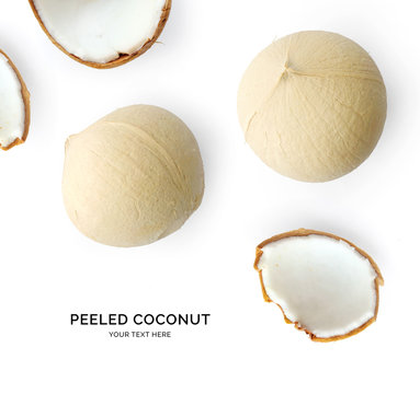 Creative layout made of coconut. Flat lay. Food concept. Coconut on white background.
