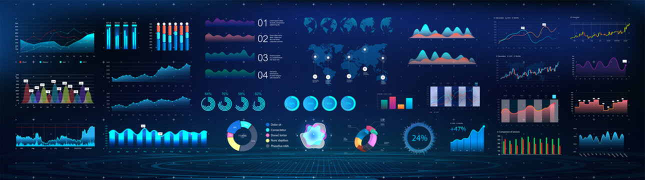 UI Future, Colorful infographics template for business and other projects. Big collection UI UX KIT elements. Design, processing and analysis of data. Modern infographics and vector mockups