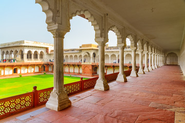 Amazing view of long passageway of the Agra Fort, India