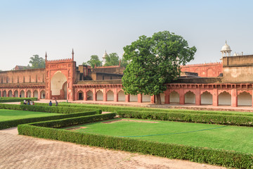 Scenic view of courtyard of the Agra Fort, India