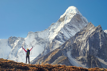 Happy woman traveler with backpack hiking in Himalayas with Ama Dablam mountain background. Wall mural