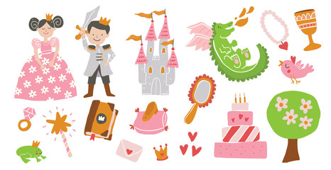beautiful vector princess, castle, carriage, frog