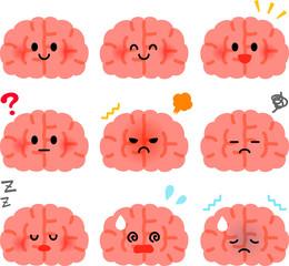 かわいい脳のキャラクターのイラストセット