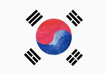 watercolor image of South Korea flag