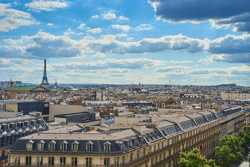 View over Paris with Opéra and Eiffel Tower / Taken from the Rooftop Balkony of the famous shopping centre Galeries Lafayette