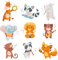 Set of cute animals musicians. Vector illustration on white background.