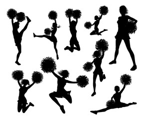 Detailed silhouette cheerleaders holding pompoms