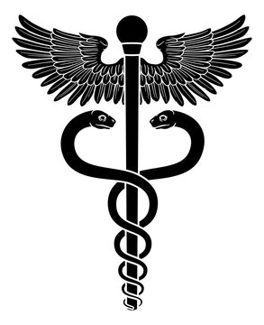 A caduceus, often used as a doctor medical symbol interchangeably with the Rod of Asclepius or Aesculapius. Features two snakes curled around a staff with wings.