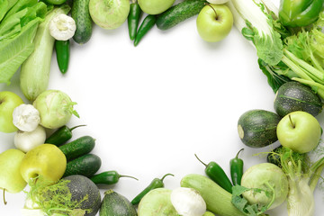 Frame made of fresh vegetables on white background Wall mural