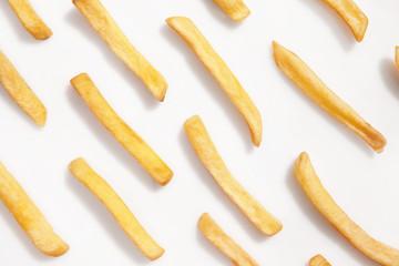 Tasty french fries on white background