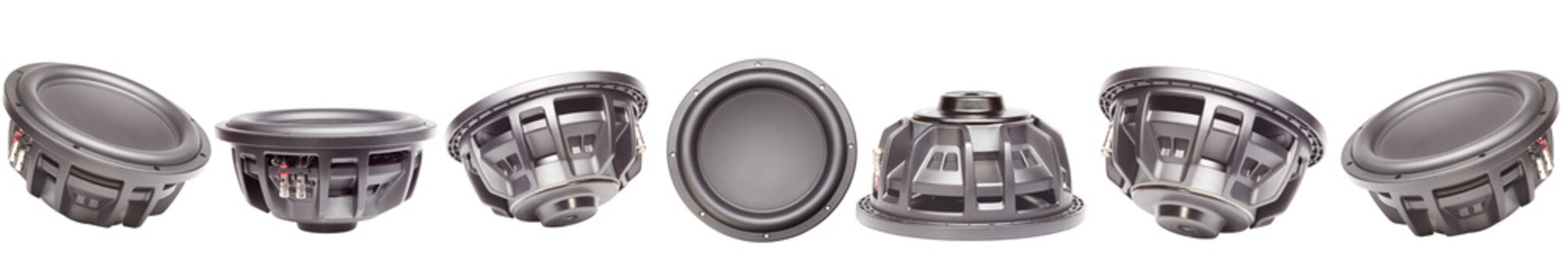 Car audio, car speakers. A set of car speakers subwoofers. Isolated white background.