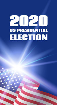 Vertical banner for 2020 US Presidential Election. With USA flag