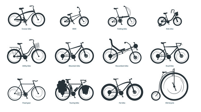 Bicycle types silhouette illustration set