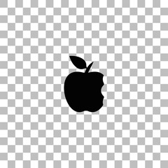 Bite apple icon flat
