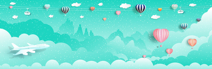 Wall Murals Green coral Travel happy new year and christmas with balloons and airplane