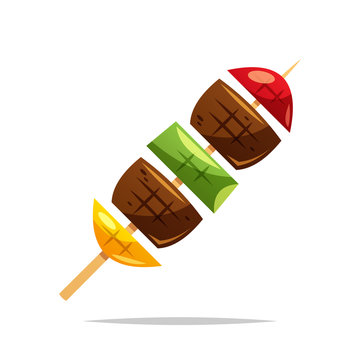 Barbecue skewer vector isolated illustration