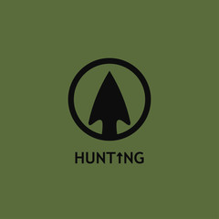 Vector illustration of a hunting logo with an arrowhead