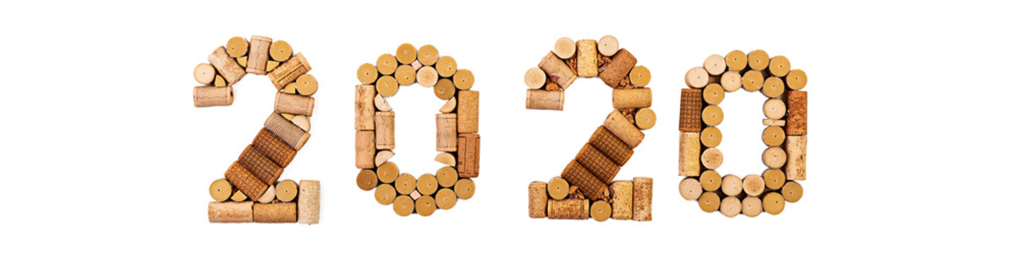 Isolated number made of wine corks. New Year 2020 isolated on white background.