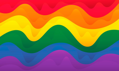 Lgbtq pride flag sign. Lesbian, homosexual, same sex rainbow background.