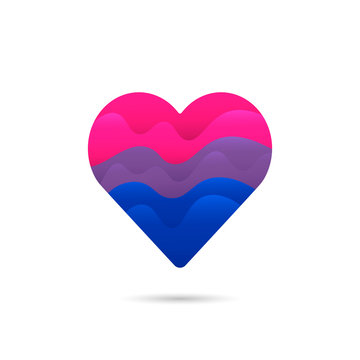 Bisexual flag in heart love sign icon vector design.