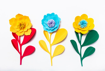 Colorful handmade paper flowers.