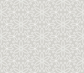 Abstract simple geometric vector seamless pattern with white line floral texture on grey background. Light gray modern wallpaper, bright tile backdrop, monochrome graphic element