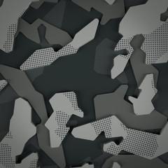Dark grey camouflage pattern 3D illustration.
