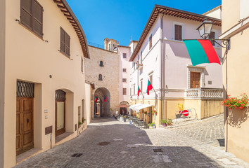 Nocera Umbra (Italy) - A little charming stone medieval city on the hill, with suggestive alley and...