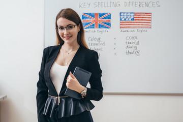 Female teacher looking at camera. English language school.
