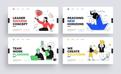 Set of Presentation slide templates or landing page websites design. Business concept illustrations. Modern flat outline style. Wall mural