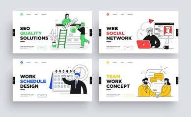 Set of Presentation slide templates or landing page websites design. Business concept illustrations. Modern flat outline style.