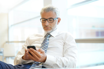 Relaxed businessman in shirt and tie working on cellphone in office