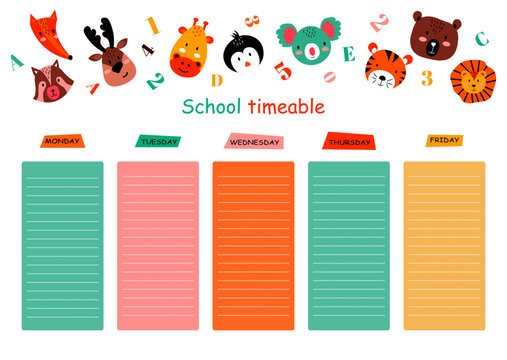 School timetable design with cute animals vector