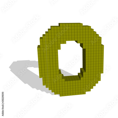3d pixelated capital letter O  Vector illustration