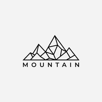 Mountain logo design template.creative stones icon vector.Mountain logo inspiration