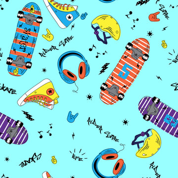 Childish doodle summer seamless pattern with skateboard and music.