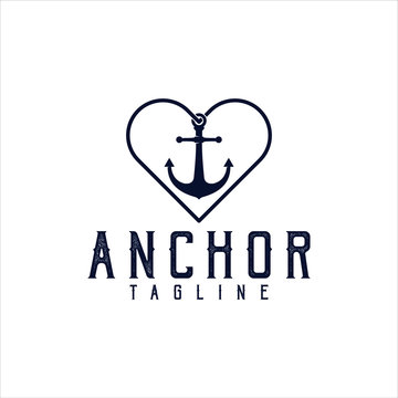 anchor wave logo silhouette marine company illustration vector download